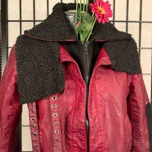 Vera Wang faux fur leather jacket